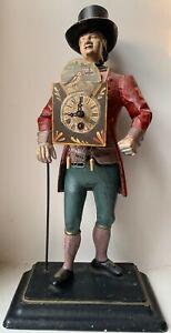 Vintage Cast Iron Man Holding Clock Statue