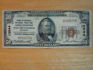 1929 $50 FIFTY DOLLAR BANK OF AMERICA SAN FRANCISCO NOTE NATIONAL CURRENCY 13044