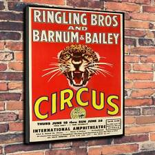 """Circus Ringling Brothers & Barnum Printed Canvas A1.30""""x20""""~Deep 30mm Frame"""