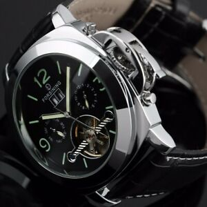 Stainless Steel Sport Tourbillon Watches Automatic Mechanical Xmas Gifts For Him