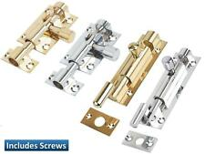 Barrel Bolt Door Latch Slide Lock Brass Chrome Straight Cranked Necked