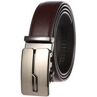 Leisure Men's Leather Belt Automatic Buckle Belt Black Brown Strap Gift Jeans