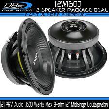 """2 PRV Audio 12W1600 12"""" Woofer Car Pro Loud Speakers 3200W 12in 8-ohm Midbass"""