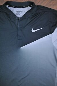 Nike Dri-Fit Golf Blade Polo Shirt Black Gray Men's Medium M