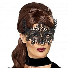 Black Embroidered Lace Filigree Venetian Masquerade Eye Mask Costume Accessory