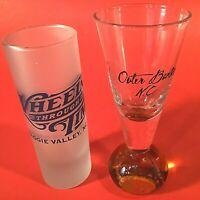 "NORTH CAROLINA SHOT GLASSES. SET OF 2. TALL 4"" WHEELS THROUGH TIME, OUTER BANKS"