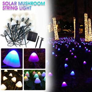3.5m Solar Powered Mushroom Fairy String 10 LED Lights Outdoor Garden Lawn Decor