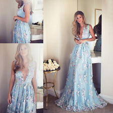 Lace Applique Prom Bridesmaid Dress Long Formal Evening Wedding Party Ball Gown