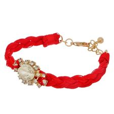 Red Braided String Adjustable Length Gold Tone Clear Rhinestone Fabric Bracelet