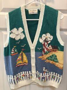 Vintage Marisa Christina Petite Sz L Blue White Sweater Vest Sailboat Lighthouse