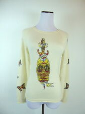 RAW 7 !00% CASHMERE BUTTERFLY SKULL TATTOO IVORY GOLD GRAPHIC SWEATER PULLOVER M