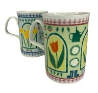 Roy Kirkham Set of 2 Cups Mugs Garden Floral Fine Bone China