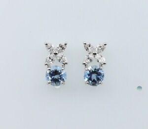 Tiffany & Co. Victoria Aquamarine Diamond Earrings in Platinum With Tiffany Box