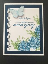 """Stampin Up Card Kit Set Of """"Thank You"""" Navy And Marina Must Flowers"""