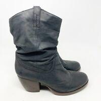 Steve Madden Womens Black Cowboy Heeled Boots Black Leather Size 10