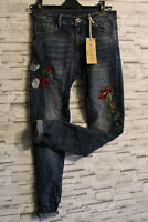 Melly & Co. Vintage Star Jeans G Skinny Hose Gr. L 42 Stretch Patch Strass