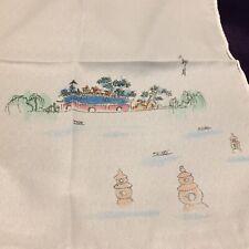 Hand Painted Silk Handkerchief, Chinese Scene, Made in China