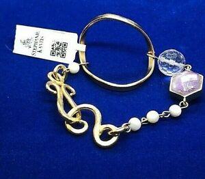 Stephanie Kantis 24K Gold Plate White Quartz, Amethyst & Pearl Bracelet