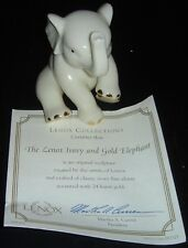 Lenox Collections Elephant Sculpture Ivory 24K Gold Trimming & Certificate Nib