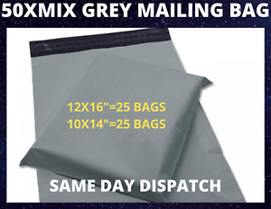 """50 X LARGE GREY MAILING PACKING BAGS POLY POSTAGE SELF SEAL 10x14"""" / 12X16"""" SIZE"""