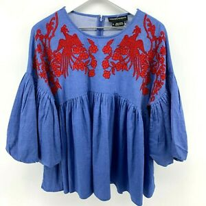 Anthropologie Hemant & Nandita Sz M Lianna Embroidered Blue Red Peasant Top NEW