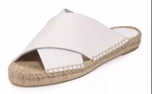 Women Vince Castel Alabaster Leather Espadrille Slide Optic White MSRP $225
