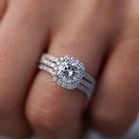 3 2/4 CT HALO ROUND CUT BRIDAL ENGAGEMENT RING SET SOLID 14K WHITE GOLD