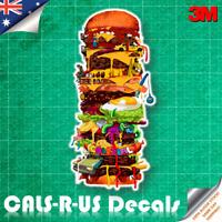 Big Burger Tower Restaurant Art Car Luggage Skateboard 3M Vinyl Decal Sticker