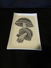 "Mid-Century Black & White mushroom tray 11"" Stotter Settings melamine tray Mod"
