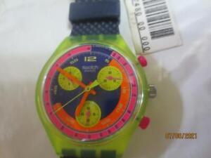 New Vintage Swatch Watch Chrono Chronograph 1992 Grand Prix SCJ 101 IOB/papers