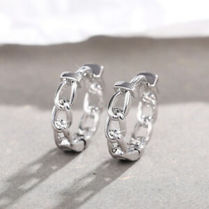 Fashion 925 Silver,Gold Hoop Earring for Women Men White Sapphire Jewelry A Pair
