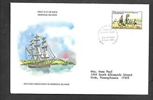 NORFOLK 1981 FIRST DAY COVER CITIZENS ARRIVING AT NORFOLK ISLAND SHIP MIGRATION