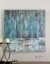 Impressionist Waterfall Oil Painting | Square Blue Wall Art Pastel