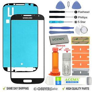 Samsung Galaxy S4 Front Glass lens Screen Replacement Repair Kit Black + UV Glue
