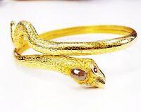 Rare Vintage Estate 18k Solid Gold Serpent Diamond Bracelet with Ruby Eyes