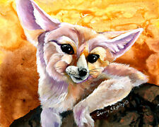 "Fennec Fox Original 8"" x 10"" Art Painting by Sherry Shipley"