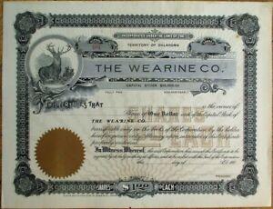 Wearine Company 1900 Stock Certificate - Territory of Oklahoma OK w/Stag Vign.