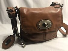 FOSSIL MADDOX CAMEL BROWN LEATHER  SMALL FLAP CROSSBODY  BAG