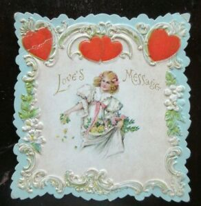 Victorian 2-Sided EMBOSSED Valentine's Card GIRL WITH SKIRT FULL OF YELLOW ROSES