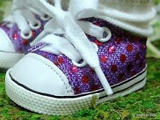 """**SALE** PURPLE Sequin DOLL SNEAKERS Tennis SHOES fits 18"""" AMERICAN GIRL DOLL"""