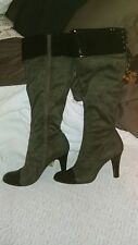 BCBG Chill Strech Grey Faux Suede Patent Toe Heel Knee High Boots Lace Size 6.5