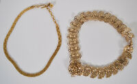 2 Vintage Unusual Crown Trifari Gold Tone Choker Necklaces Art Deco Chain Link
