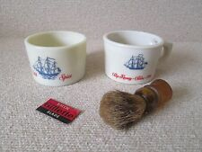 2x Vintage Old Spice Cologne Ship Shaving Mugs w/ Brush & Gillette Razor Blade
