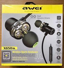 Sports In-Ear Bluetooth Wireless Earphones Headphones  Dual Drivers Awei X650BL