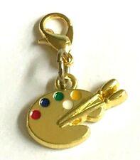 Gold Art Palette Charm Graduation Gift Colorful Zipper Pull Handbag Purse Plated
