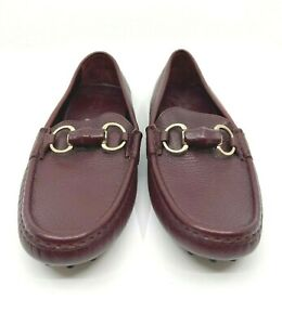 GUCCI Women's Burgundy Leather Drivers Loafers Slip In Rubber Sole Size EU 36