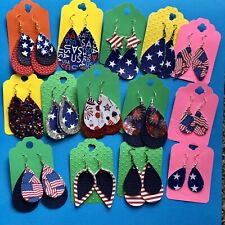 American Faux Leather Teardrop Dangle Earrings New Huge Lot Of 14 Patriotic