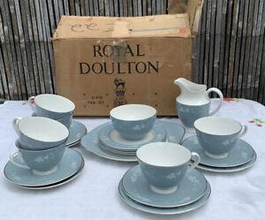 VINTAGE mid century ROYAL DOULTON REFLECTION TEA SERVICE 21pc rare Gamages box