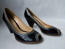 Clarks Shoes Black Patent Grey Band Peep Toe Womens Size 6/ 39 Mid HeelBNWOB
