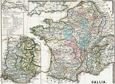 Vieux appliquent 157 ans réel plan Gaule Aquitaine Lugdunensis Narbonne 1861 Carte